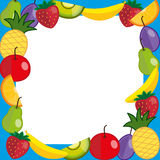 Fruits photo frame. Colorful photoframe with different fresh fruit. vector Royalty Free Stock Photos