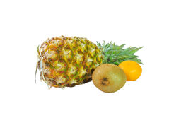 Fruits of pineapple, kiwi and tangerine Stock Photo