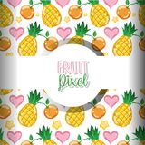 Fruit pixel background. Fruits pineapples and oranges pixel background vector illustration graphic design Royalty Free Illustration