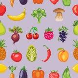 Fruits pixel vegetables vector healthy nutrition of fruity apple banana and vegetably carrot for vegetarians eating. Organic food illustration vegetated set royalty free illustration