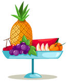 Fruits on plate. Illustration of isolated plate of fruits on white background Stock Images
