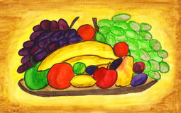 Fruits on plate, painting Royalty Free Stock Images
