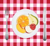Fruits in a plate on picnic tablecloth Royalty Free Stock Images