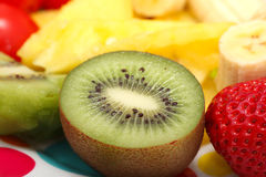 Fruits Plate Strawberry Kiwi Fruit Stock Photos