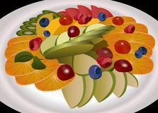 Fruits on plate vector Royalty Free Stock Images