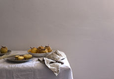 Fruits on Plate on White Table Royalty Free Stock Photos