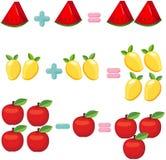 Fruits pour apprendre des mathématiques Image libre de droits