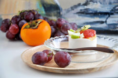 Fruits Pudding Serve on Tray Stock Images