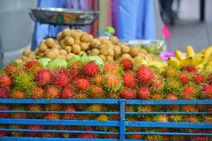 Fruits put on sale in Street Food at night market, Khaosan Road royalty free stock photo