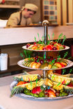 Fruits pyramid. Fruits decorative pyramid in the restaurant table Stock Images