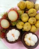 Fruits. Rambutan, mangosteen, wollongong fruit in Thailand Royalty Free Stock Photos