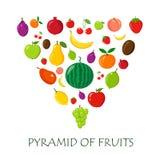 Fruits random pyramidal on white Stock Photography
