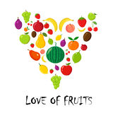 Fruits random pyramidal on white Stock Photo