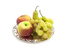 Fruits - rapes, apples and pears Stock Photo