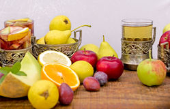 Fruits and refreshing beverages (sangria and cider) Stock Photos