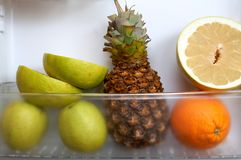 Fruits in refrigerator Royalty Free Stock Photo