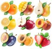Fruits réglés avec le chemin de coupure Photo stock