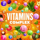 Fruits riches des vitamines et des minerais illustration stock