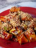 Fruits Rojak in Penang, Malaysia. Traditional Asian Fruits Mixed Salad, with ketchup. peanut and sesame seeds Stock Images