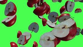 Fruits rouges 3D, transitions visuelles de pommes de remorquage d'isolement sur un écran vert, longueur 4K illustration libre de droits