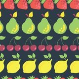 Fruits in rows vector seamless pattern background stock illustration
