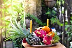 Fruits sacrifice stock image