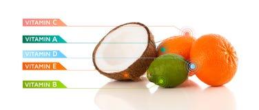 Fruits sains avec des symboles et des icônes colorés de vitamine Photos libres de droits