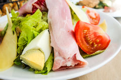 Fruits salad and ham with egg Royalty Free Stock Photography