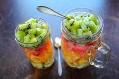 Fruits salad with kiwi, watermelon, kiwi, orange and banana Stock Photos