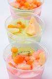 Fruits salad, milk Royalty Free Stock Images
