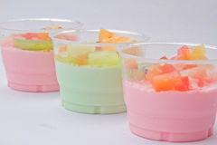 Fruits salad milk Stock Images