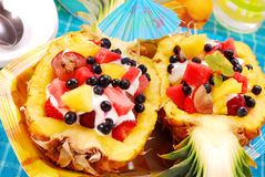 Fruits salad in pineapple Royalty Free Stock Photo
