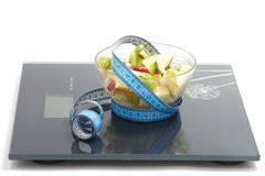 Fruits salat with measuring tape Stock Image