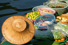 Fruits On Sale On Floating Market. Fruits sale from the boat on the floating market in Thailand royalty free stock photo