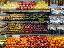 Fruits for sale at a supermarket stock image