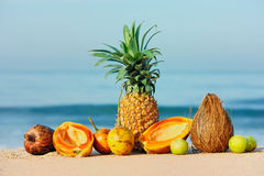 Fruits on sand Royalty Free Stock Image