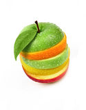 Fruits sandwich. Courious represent about a fruit sandwich made with green and red apple, lemon, peach annd orange stock photography