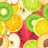 Fruits sans couture de modèle Coupez en tranches la pomme, kiwi, pêche, chaux, citron, orange Photo stock