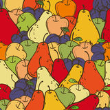 Fruits Seamless Pattern. Apples, Plums and Pears Seamless Pattern. Color vector illustration Stock Photo