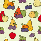 Fruits Seamless Pattern. Apples, Plums and Pears Seamless Pattern. Color vector illustration Royalty Free Stock Photos