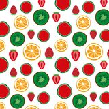 Fruits seamless pattern. Background of fresh fruits. Healthy food Stock Image