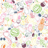 Fruits seamless pattern. Stock Photo