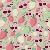 Fruits. Seamless pattern of halftone fruits in pastel shades Vector Illustration