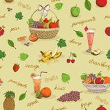 Fruits seamless pattern with names Royalty Free Stock Image