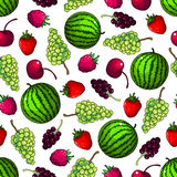 Fruits seamless pattern wallpaper background Stock Photo