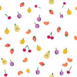 Fruits seamless pattern on white. Fruits seamless pattern, vector background Stock Image