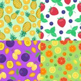 Fruits seamless patterns set. Stock Image
