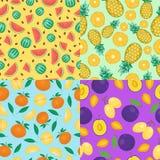 Fruits seamless patterns  set. Stock Photography