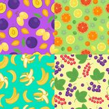 Fruits seamless patterns  set. Royalty Free Stock Images