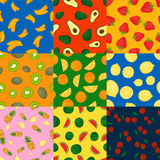 Fruits seamless patterns vector set. Royalty Free Stock Photography
